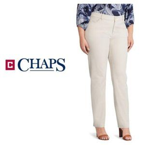 Chaps Womens Plus Size Khaki Stretch Pants Sz 22W